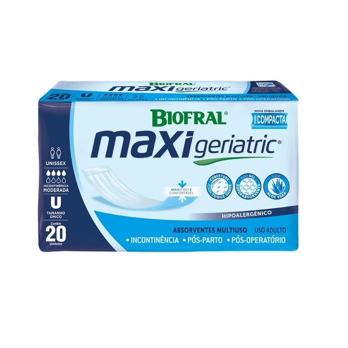 absorvente maxi geriatric pacote com 20 unidades