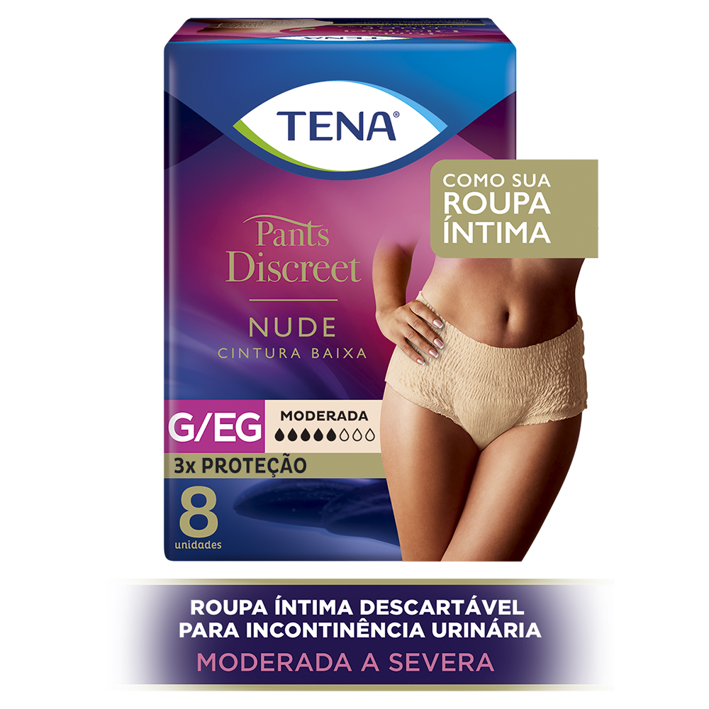 tena pants discreet nude cintura baixa g, eg com 8 unidades