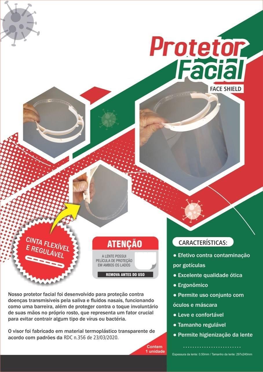 protetor facial 297mm x 240mm lente 0.50mm