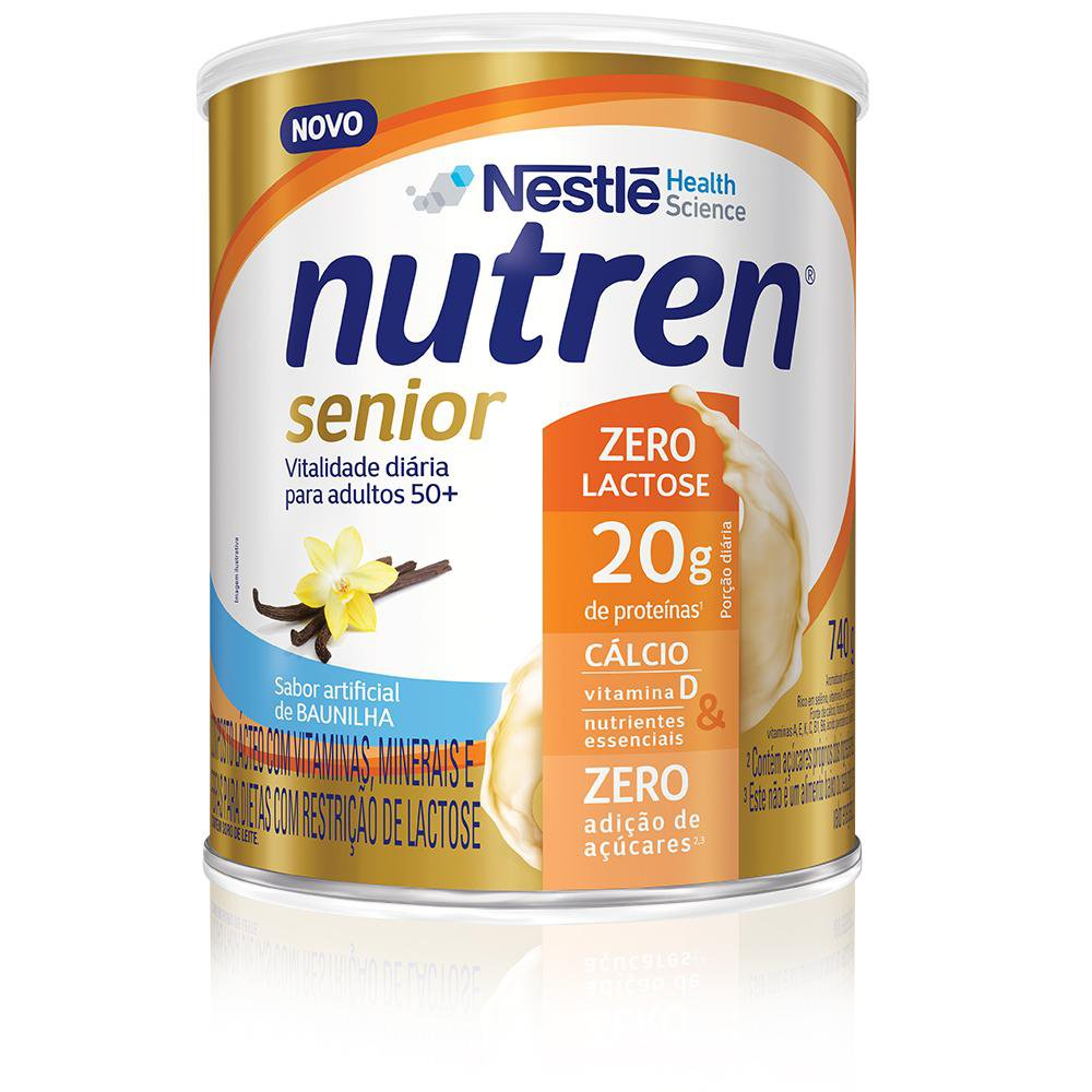 nutren senior po zero lactose baunilha 740 g